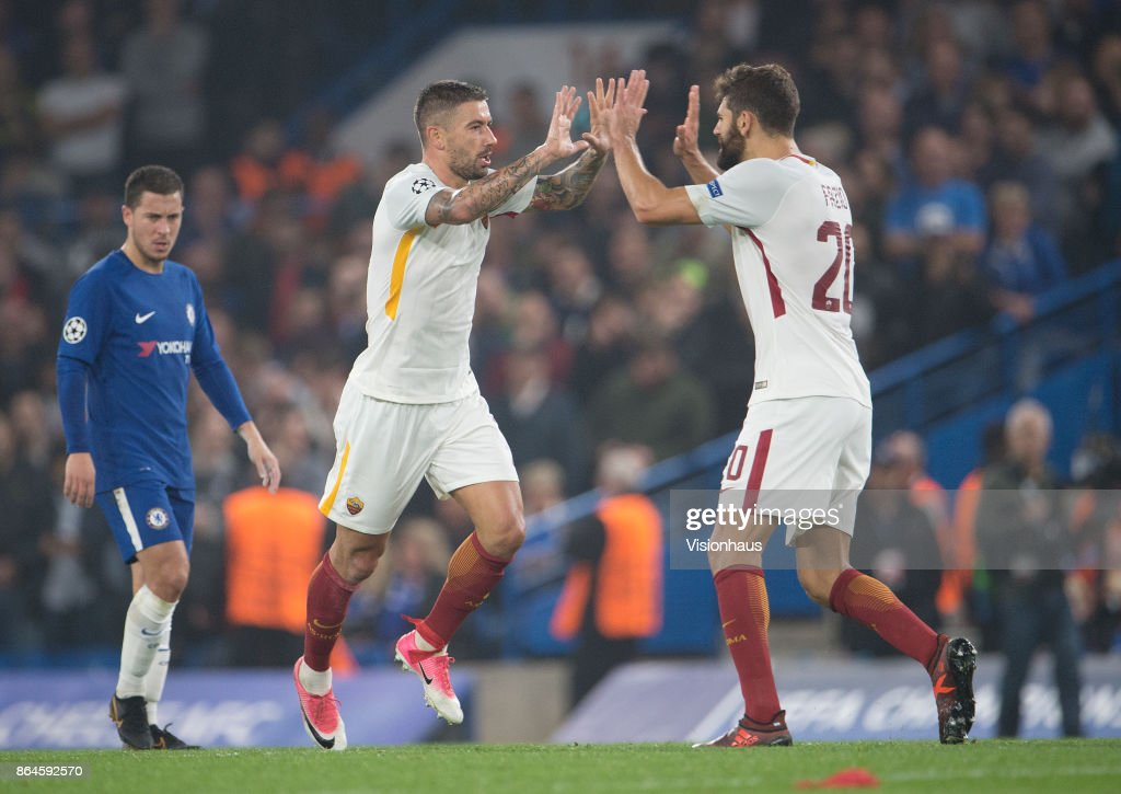 Aleksandar Kolarov of AS ROMA celebrates his goal with Federico Fazio during the UEFA Champions League Group C match between Chelsea FC and AS Roma at Stamford Bridge on October 18, 2017 in London, United Kingdom.