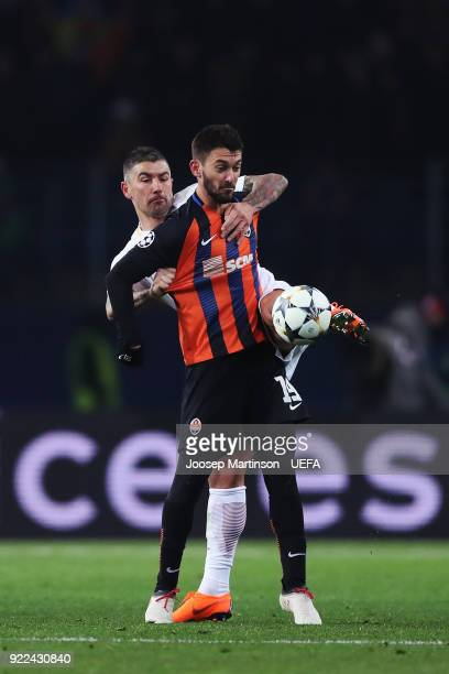 Aleksandar Kolarov of AS Roma competes with Facundo Ferreyra of Shakhtar Donetsk during the UEFA Champions League Round of 16 First Leg match between...