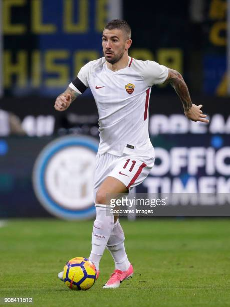 Aleksandar Kolarov of AS Roma during the Italian Serie A match between Internazionale v AS Roma at the San Siro on January 21 2018 in Milan Italy