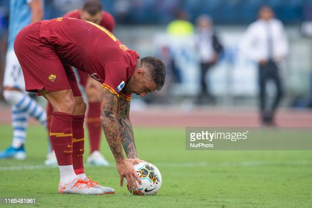 Aleksandar Kolarov of AS Roma during the Serie A match between Lazio and AS Roma at Stadio Olimpico, Rome, Italy on 1 September 2019.