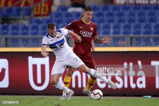 Aleksandar Kolarov of AS Roma Hans Hateboer of Atalanta Bergamo during the Italian Serie A match between AS Roma v Atalanta Bergamo at the Stadio...