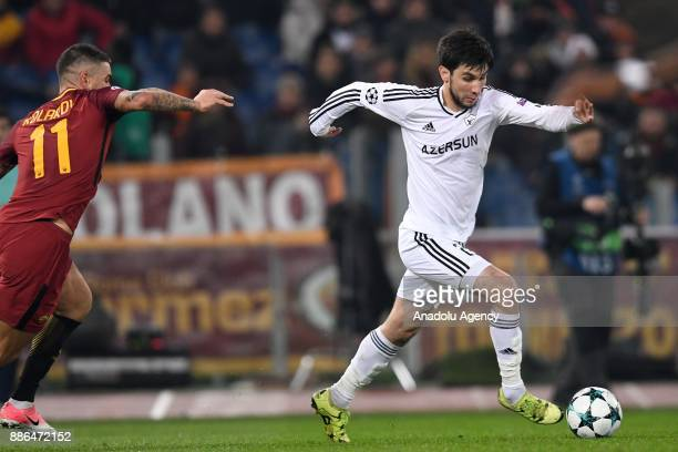 Aleksandar Kolarov of AS Roma in action against Mahir Madatov of Qarabag FK during the UEFA Champions League Group C soccer match between AS Roma and...