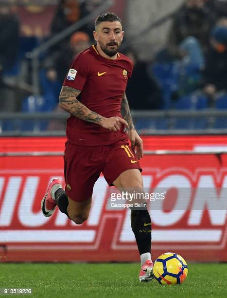 Aleksandar Kolarov of AS Roma in action during the serie A match between AS Roma and UC Sampdoria at Stadio Olimpico on January 28 2018 in Rome Italy