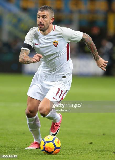 Aleksandar Kolarov of AS Roma in action during the Serie A match between FC Internazionale and AS Roma at Stadio Giuseppe Meazza on January 21 2018...