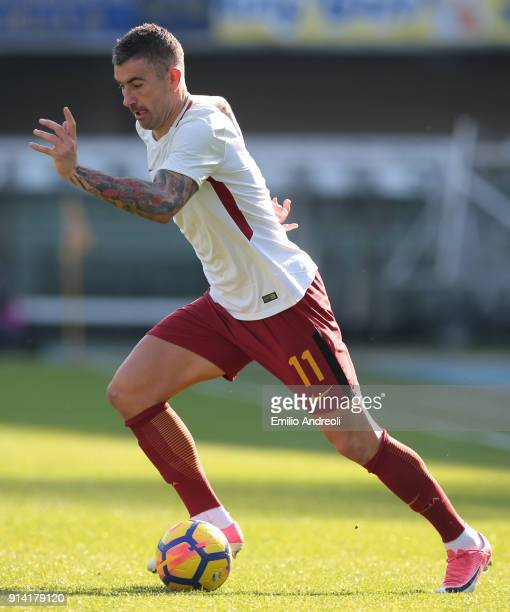 Aleksandar Kolarov of AS Roma in action during the serie A match between Hellas Verona FC and AS Roma at Stadio Marc'Antonio Bentegodi on February 4...