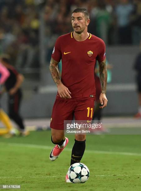 Aleksandar Kolarov of AS Roma in action during the UEFA Champions League group C match between AS Roma and Atletico Madrid at Stadio Olimpico on...
