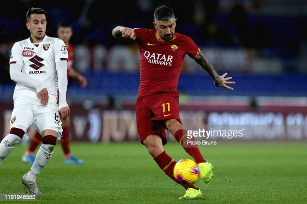 Aleksandar Kolarov of AS Roma kicks the ball during the Serie A match between AS Roma and Torino FC at Stadio Olimpico on January 5 2020 in Rome Italy