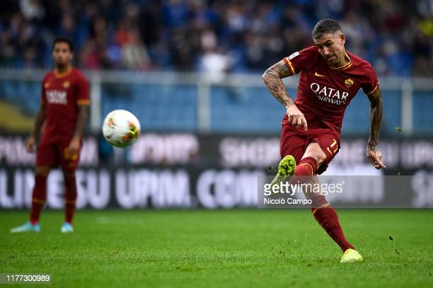 Aleksandar Kolarov of AS Roma kicks the ball during the Serie A football match between UC Sampdoria and AS Roma The match ended in a 00 tie