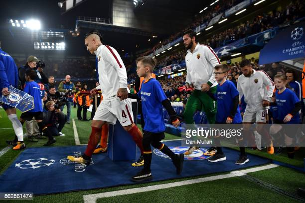 Aleksandar Kolarov of AS Roma leads his team out prior to the UEFA Champions League group C match between Chelsea FC and AS Roma at Stamford Bridge...