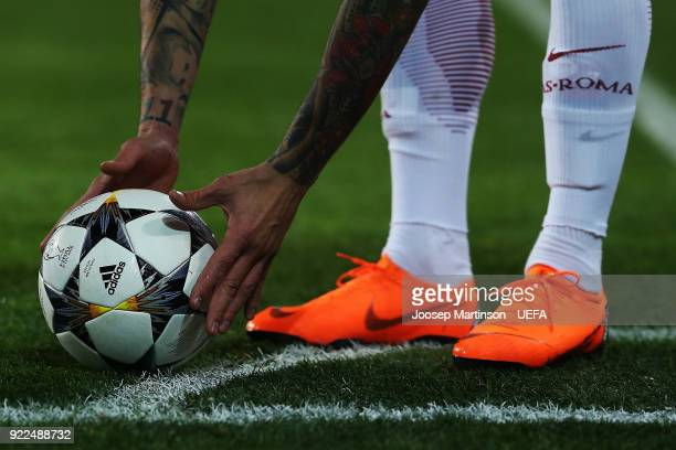 Aleksandar Kolarov of AS Roma places the ball during the UEFA Champions League Round of 16 First Leg match between Shakhtar Donetsk and AS Roma at...