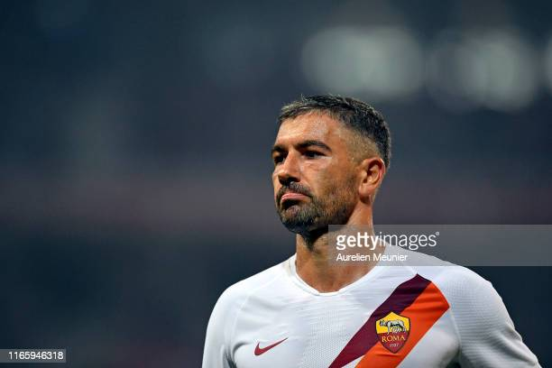 Aleksandar Kolarov of AS Roma reacts during the Friendly match between Lille and AS Roma at Stade Pierre Mauroy on August 03 2019 in Lille France