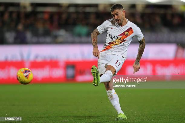 Aleksandar Kolarov of AS Roma scores a goal during the Serie A match between ACF Fiorentina and AS Roma at Stadio Artemio Franchi on December 22 2019...