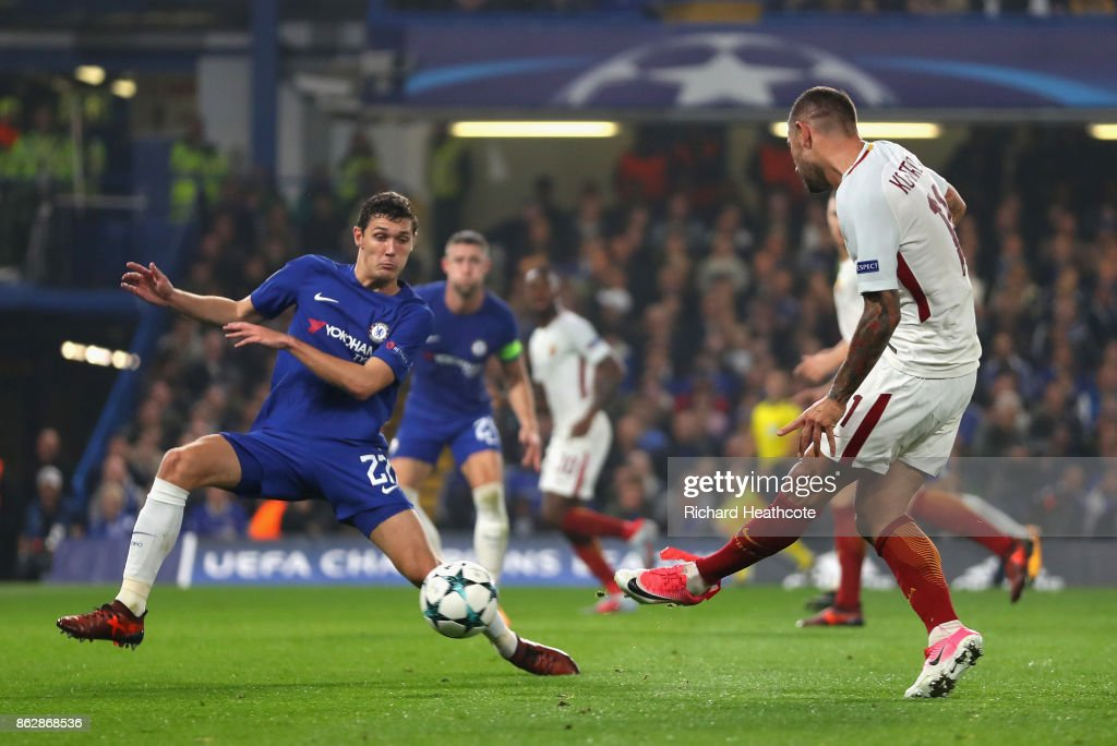 Aleksandar Kolarov of AS Roma scores his sides first goal during the UEFA Champions League group C match between Chelsea FC and AS Roma at Stamford Bridge on October 18, 2017 in London, United Kingdom.