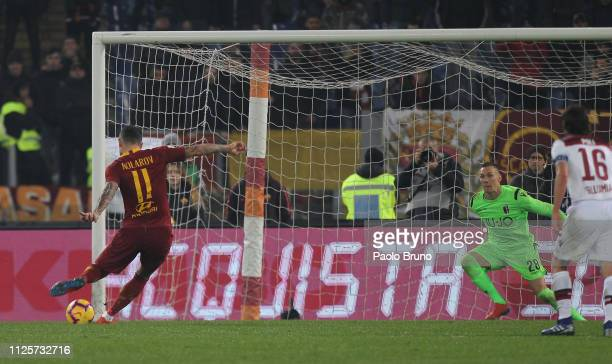Aleksandar Kolarov of AS Roma scores the opening goal from penalty spot during the Serie A match between AS Roma and Bologna FC at Stadio Olimpico on...