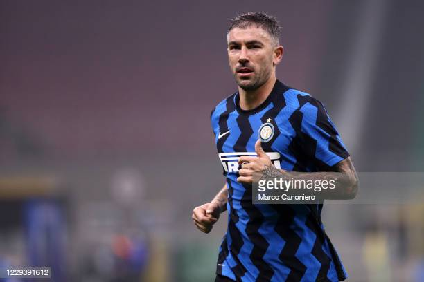 Aleksandar Kolarov of FC Internazionale during The Serie A match between FC Internazionale and Parma Calcio. The match end in a tie 2-2.