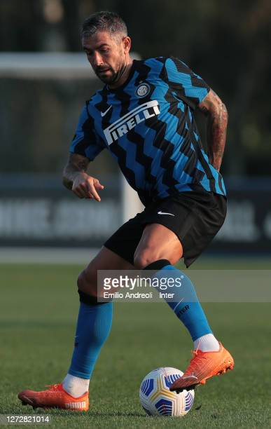 Aleksandar Kolarov of FC Internazionale in action during the PreSeason Friendly match between FC Internazionale and Lugano at the club's training...