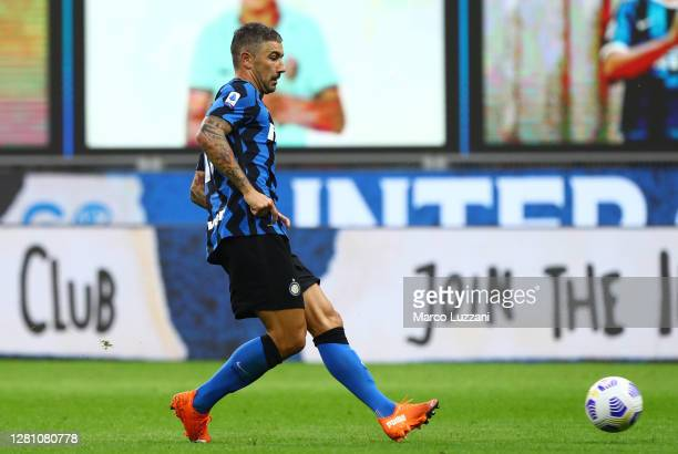 Aleksandar Kolarov of FC Internazionale in action during the Serie A match between FC Internazionale and AC Milan at Stadio Giuseppe Meazza on...