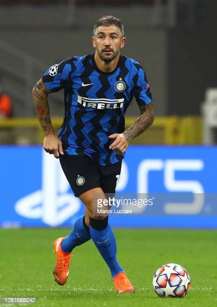 Aleksandar Kolarov of FC Internazionale in action during the UEFA Champions League Group B stage match between FC Internazionale and Borussia...