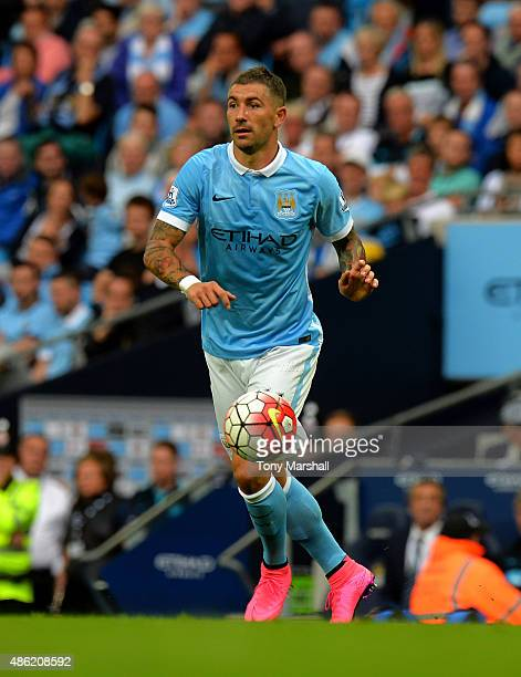 Aleksandar Kolarov of Manchester City during the Barclays Premier League match between Manchester City and Watford at the Etihad Stadium on August 29...