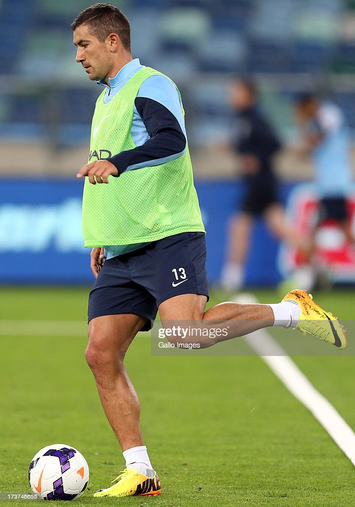 Aleksandar Kolarov of Manchester City during the Manchester City training session at Moses Mabhida Stadium on July 17, 2013 in Durban, South Africa.