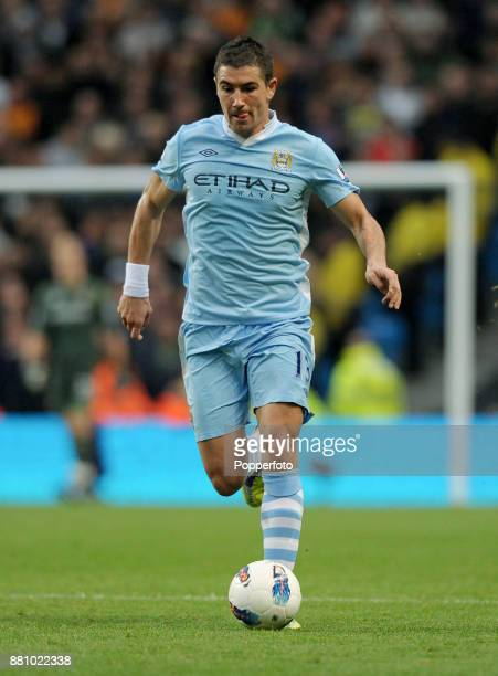 Aleksandar Kolarov of Manchester City in action during the Barclays Premier League match between Manchester City and Wolverhampton Wanderers at the...