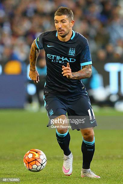 Aleksandar Kolarov of Manchester City looks to pass the ball during the International Champions Cup match between Real Madrid and Manchester City at...