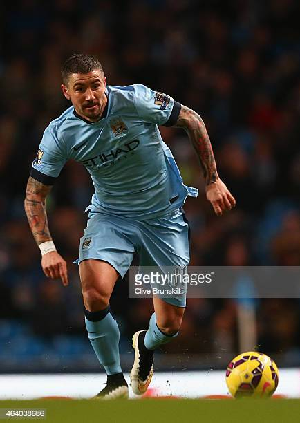 Aleksandar Kolarov of Manchester City on the ball during the Barclays Premier League match between Manchester City and Newcastle United at Etihad...