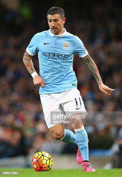 Aleksandar Kolarov of Manchester City runs with the ball during the Barclays Premier League match between Manchester City and Southampton at Etihad...