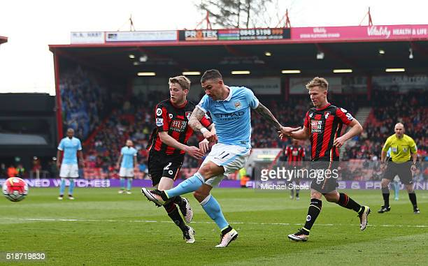 Aleksandar Kolarov of Manchester City scores his team's fourth goal during the Barclays Premier League match between AFC Bournemouth and Manchester...