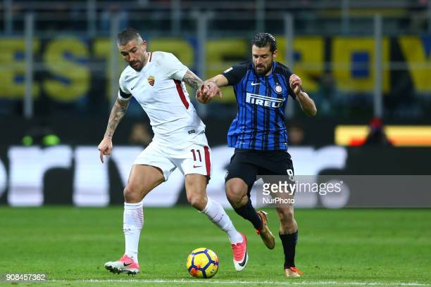Aleksandar Kolarov of Roma and Antonio Candreva of Internazionale during the Serie A match between FC Internazionale and AS Roma at Stadio Giuseppe...