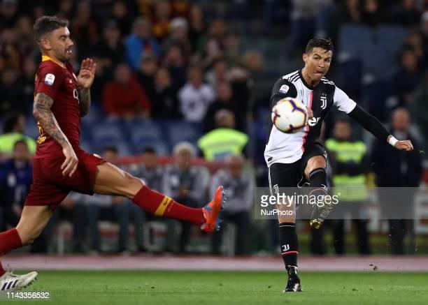 Aleksandar Kolarov of Roma and Cristiano Ronaldo of Juventus during the Italian Serie A football match AS Roma v Fc Juventus at the Olimpico Stadium...