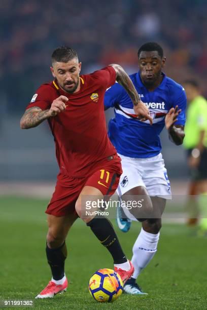 Aleksandar Kolarov of Roma and Duvan Zapata of Sampdoria during the Italian Serie A football match between AS Roma and Sampdoria at the Olympic...