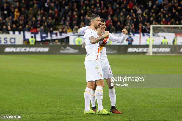 Aleksandar Kolarov of Roma celebrates his goal 24 during the Serie A match between Cagliari Calcio and AS Roma at Sardegna Arena on March 1 2020 in...
