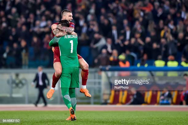 Aleksandar Kolarov of Roma celebrates with Alisson Becker of Roma after Konstantinos Manolas of Roma scored third goal during the UEFA Champions...