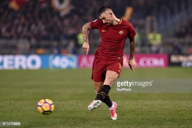 Aleksandar Kolarov of Roma during the Serie A match between Roma and Sampdoria at Olympic Stadium Roma Italy on 28 January 2018