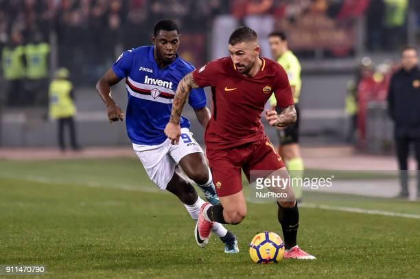 Aleksandar Kolarov of Roma followed by Duvn Zapata of Sampdoria during the Serie A match between Roma and Sampdoria at Olympic Stadium Roma Italy on...