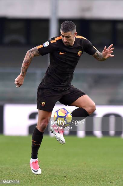 Aleksandar Kolarov of Roma in action during the Serie A match between AC Chievo Verona and AS Roma at Stadio Marc'Antonio Bentegodi on December 10...