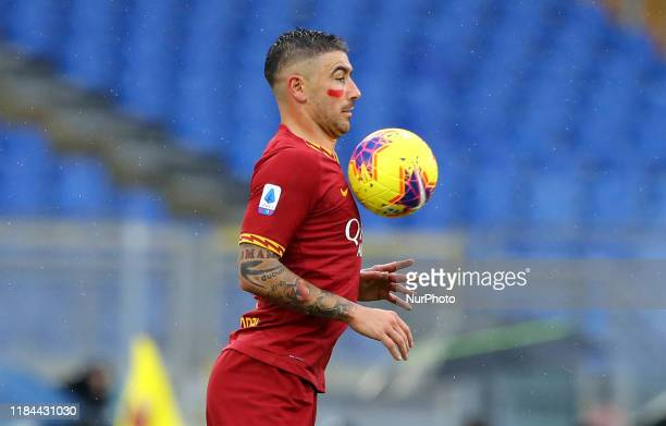 Aleksandar Kolarov of Roma in action with a red mark on face in campaign to stop domestic violence against women during the Serie A match AS Roma v...