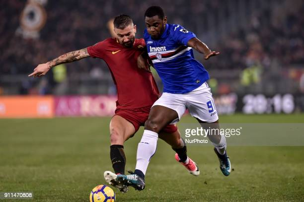 Aleksandar Kolarov of Roma is challenged by Duvn Zapata of Sampdoria during the Serie A match between Roma and Sampdoria at Olympic Stadium Roma...