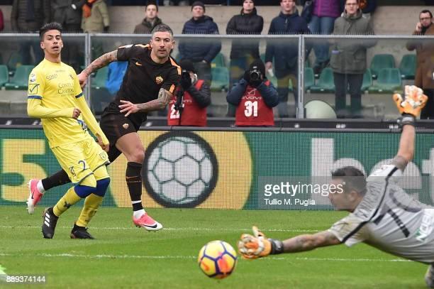 Aleksandar Kolarov of Roma kicks the ball during the Serie A match between AC Chievo Verona and AS Roma at Stadio Marc'Antonio Bentegodi on December...