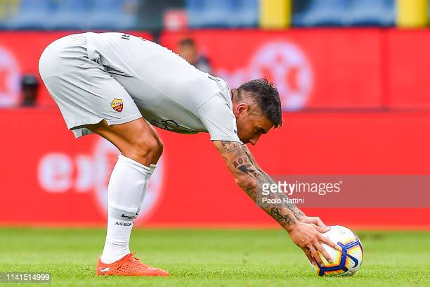 Aleksandar Kolarov of Roma prepares the ball for a free kick during the Serie A match between Genoa CFC and AS Roma at Stadio Luigi Ferraris on May 5...