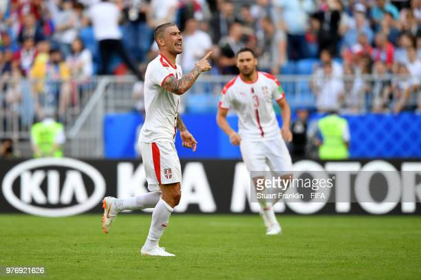 Aleksandar Kolarov of Serbia celebrates after scoring his team's first goal during the 2018 FIFA World Cup Russia group E match between Costa Rica...