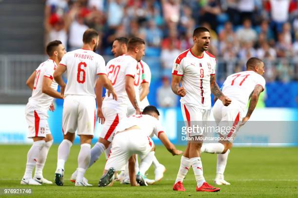 Aleksandar Kolarov of Serbia celebrates after scoring his team's first goal from a free kick during the 2018 FIFA World Cup Russia group E match...