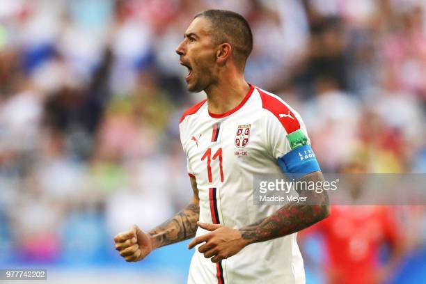 Aleksandar Kolarov of Serbia celebrates during the 2018 FIFA World Cup Russia group E match between Costa Rica and Serbia at Samara Arena on June 17...