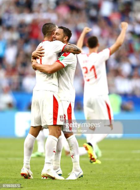 Aleksandar Kolarov of Serbia celebrates victory with team mate Aleksandar Prijovic during the 2018 FIFA World Cup Russia group E match between Costa...