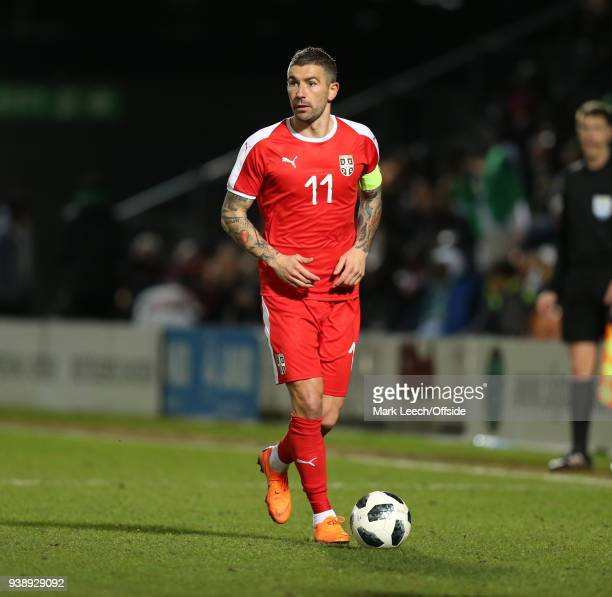 Aleksandar Kolarov of Serbia during the International Friendly match between Nigeria and Serbia at The Hive on March 27 2018 in Barnet England