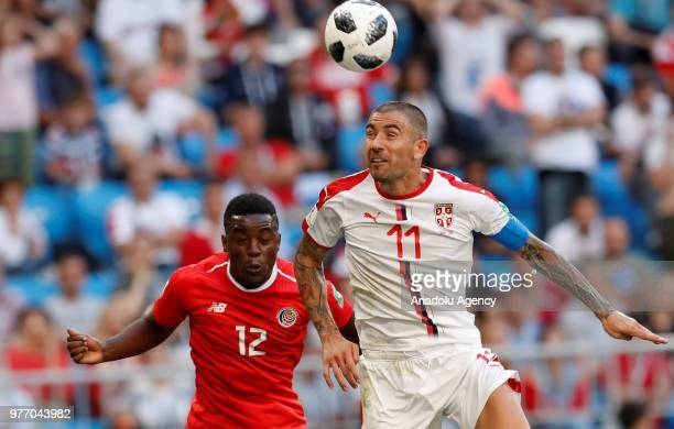Aleksandar Kolarov of Serbia in action against Joel Campbell of Costa Rica during the 2018 FIFA World Cup Russia Group E match between Costa Rica and...