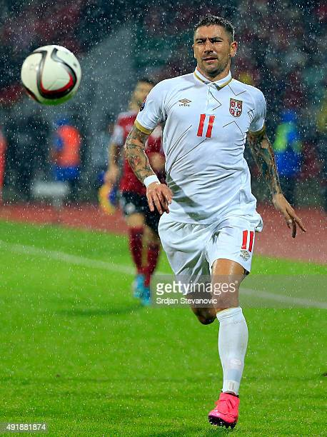 Aleksandar Kolarov of Serbia in action during the Euro 2016 qualifying football match between Albania and Serbia at the Elbasan Arena in Elbasan on...