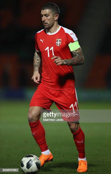 Aleksandar Kolarov of Serbia in action during the International Friendly match between Nigeria and Serbia at The Hive on March 27 2018 in Barnet...