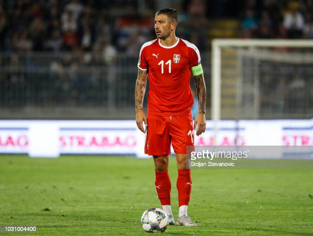 Aleksandar Kolarov of Serbia in action during the UEFA Nations League C group four match between Serbia and Romania at stadium Partizan on September...